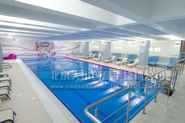 游泳池抽象墙砖马赛克手绘墙壁画
