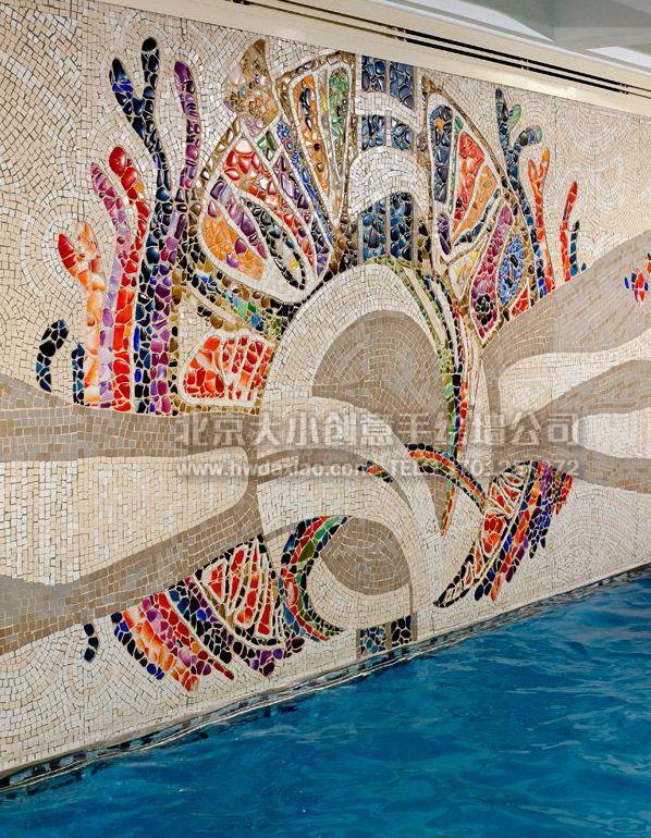游泳池抽象墙砖马赛克手绘墙壁画 墙体彩绘图片