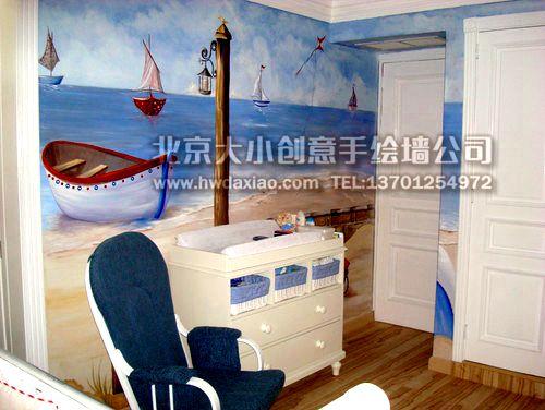 一帆風順——臥室手繪墻壁畫