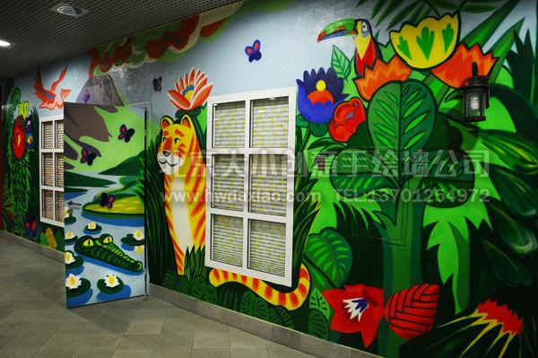 丛林漫游——儿童乐园幼儿园手绘墙壁画 墙体彩绘图片