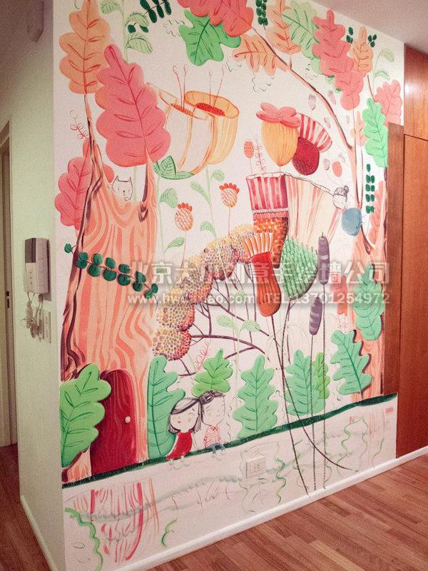 餐厅手绘墙 别墅彩绘 楼梯间墙绘