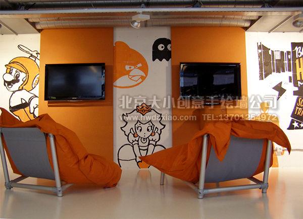 创意墙绘 办公室手绘墙 美术陈列手绘墙 橱窗手绘墙 展柜壁画 走廊