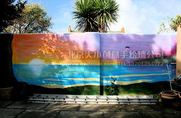 海滩风景墙绘图片