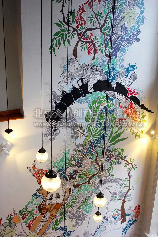 这样高大的一面墙壁,如果没有好的设计师和技艺高超的绘画技法,是很难完成这样一幅美妙的手绘墙壁画的。墙体彩绘往往能直接体现出房间主人的品味,所以选择一家好的墙绘公司就十分重要了。 大小手绘,您身边的墙绘壁画专家!更多墙绘、彩绘创意详情请点击>http://www.hwdaxiao.