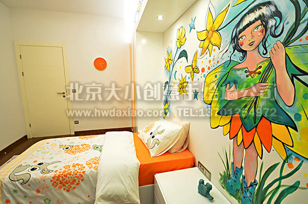 少女喜爱的卧室空间手绘墙壁画 墙体彩绘