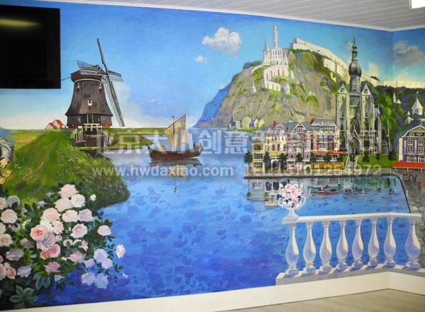 欧式精致风景海滩城堡油画风格手绘墙壁画