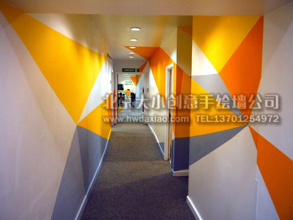 办公室手绘墙 楼梯间壁画