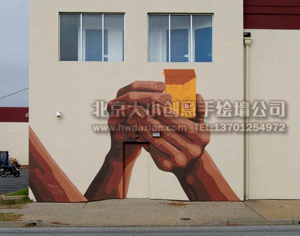 大型仓库外墙手绘墙壁画 墙体彩绘