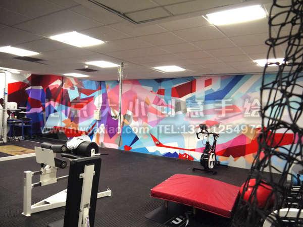 健身房墙绘素材