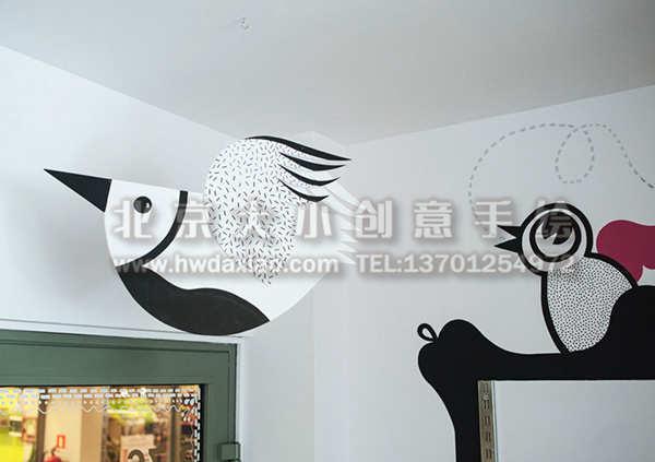 卡通简笔画儿童画风格店铺手绘墙壁画 墙体彩绘