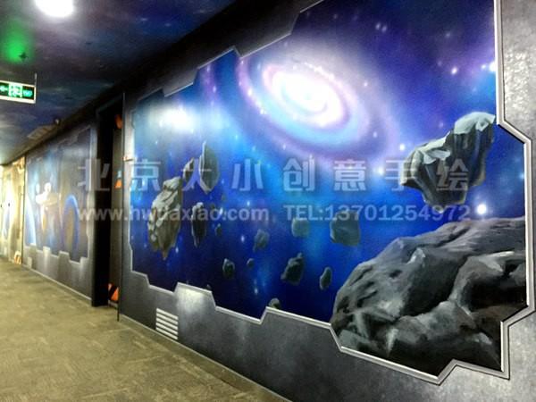 星际旅行宇宙主题办公室走廊手绘墙壁画 墙体彩绘