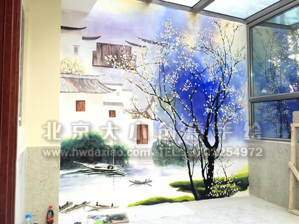 水墨风情家居手绘墙壁画