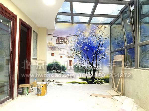 餐厅手绘墙 别墅彩绘 玄关壁画 楼梯间墙绘 走廊壁画 卧室背景墙绘 客