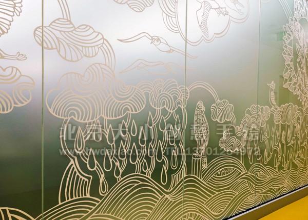 玻璃贴画 贴膜墙绘 儿童房手绘墙 动物墙绘 卡通墙绘 幼儿园墙面彩绘
