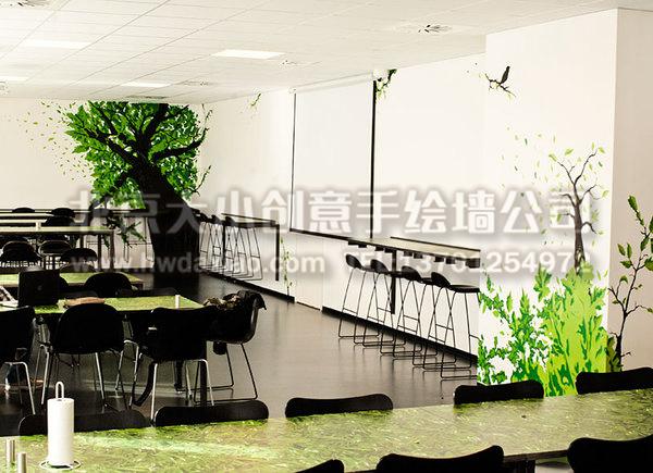 办公室餐厅手绘墙壁画