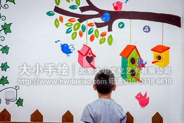 儿童房手绘墙 动物墙绘