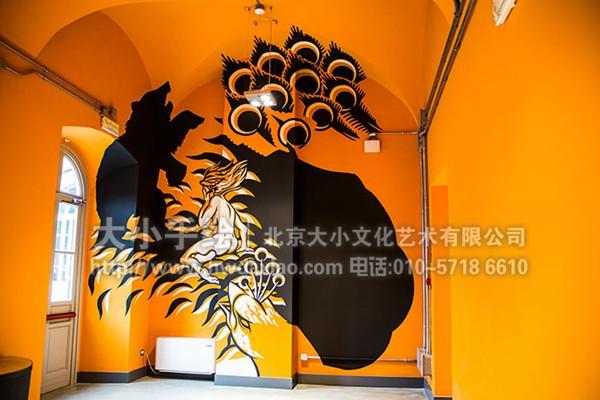 餐厅手绘墙 咖啡厅墙绘 办公室手绘墙 玄关壁画 会议室壁画 楼梯间