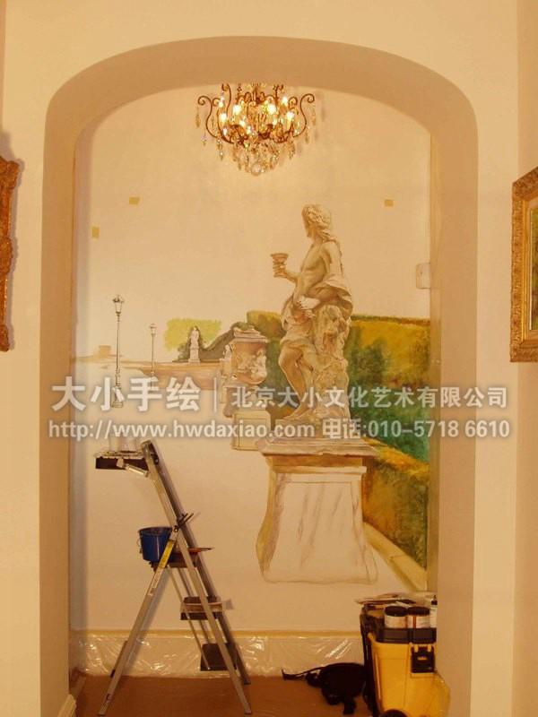 餐厅手绘墙 别墅彩绘 玄关壁画 楼梯间墙绘 走廊壁画 卧室背景墙绘