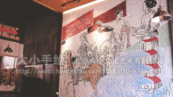 餐厅手绘墙 咖啡厅墙绘 橱窗彩绘 古典壁画 人物彩绘 楼梯间墙绘 走廊