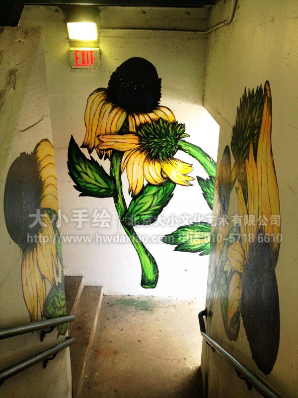 餐厅手绘墙 咖啡厅墙绘 橱窗彩绘 楼梯间墙绘 走廊壁画 户外手绘墙
