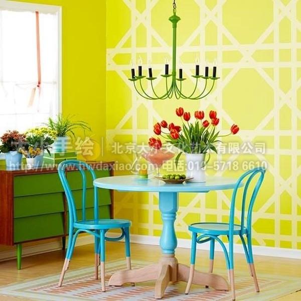温馨家居装饰餐厅手绘墙壁画 墙体彩绘