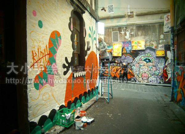 文化墙彩绘 餐厅手绘墙