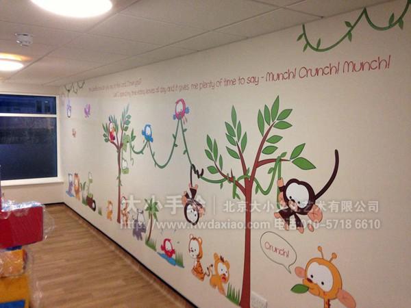 卡通墙绘 幼儿园墙面彩绘 文化墙彩绘 餐厅手绘墙 儿童医院壁画 办公