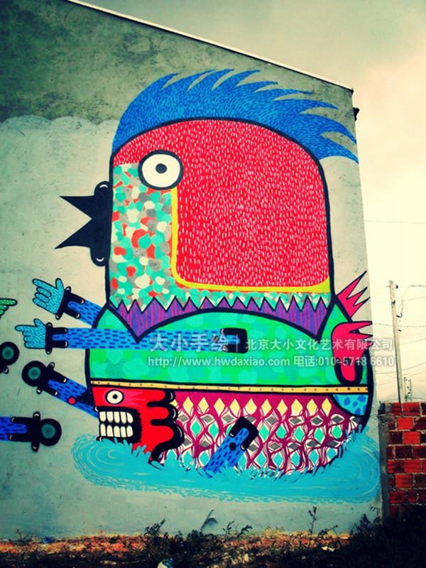 大型怪异涂鸦外墙手绘墙壁画 墙体彩绘