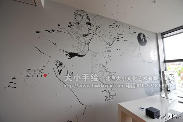 黑白风景墙绘图片