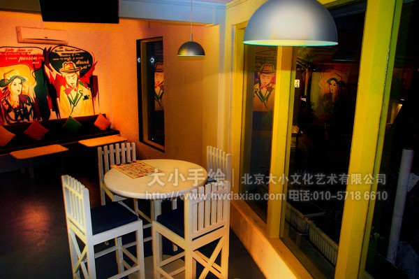 餐厅手绘墙 咖啡厅彩绘
