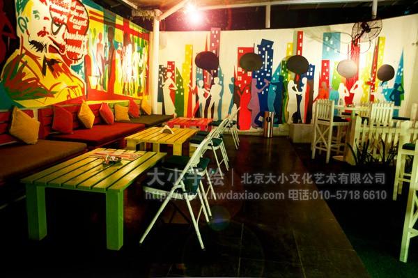 粗狂现代派风格餐厅酒吧手绘墙壁画 墙体彩绘