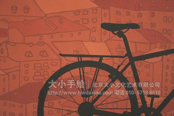 街道创意墙绘 外墙壁画 户外彩绘 自行车 猫 鸟笼 路灯 城市 红房子
