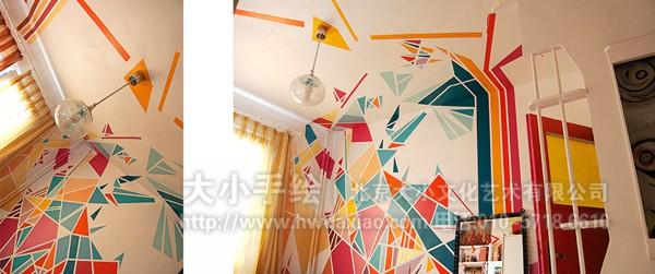 创意墙绘 会议室彩绘 几何图形墙绘 五彩缤纷 家居墙绘 店铺彩绘 商场