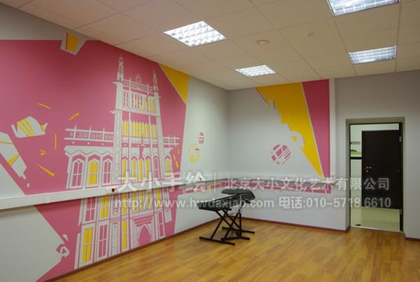 黑白 城市 古迹 剪影 办公室手绘墙 创意墙绘 会议室彩绘 店铺彩绘