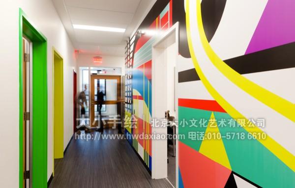 冷抽象办公区走廊手绘墙壁画 墙体彩绘