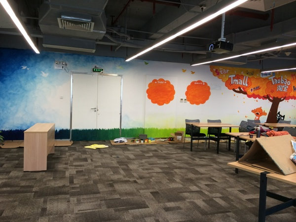 办公室手绘墙 创意墙绘 会议室彩绘 淘宝 天猫 卡通 走廊壁画 店铺