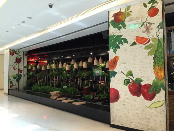 餐厅手绘墙 咖啡厅墙绘 酒吧墙绘 水果 石榴 橙子 苹果 芒果 草莓 有图片
