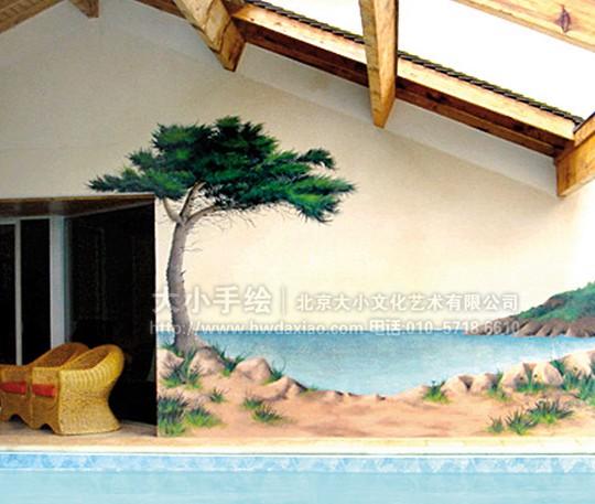 餐厅手绘墙 别墅彩绘 天顶手绘墙 玄关壁画 楼梯间墙绘 走廊壁画 风景