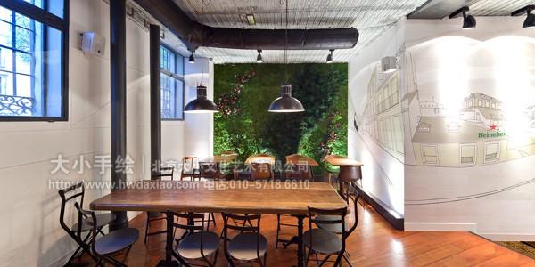 餐厅手绘墙 咖啡厅墙绘 酒吧墙绘 城市 啤酒 勾线 线描手绘 走廊壁画