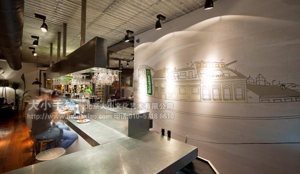 城市映像餐厅酒吧手绘墙壁画
