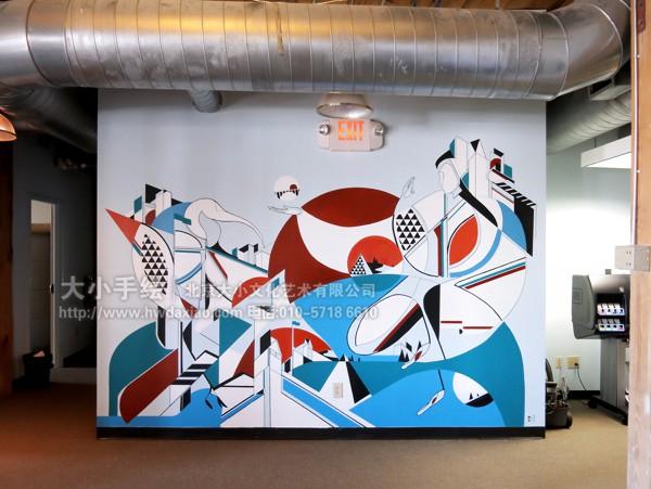 办公室手绘墙 创意墙绘 会议室彩绘 抽象壁画 走廊壁画 店铺彩绘 商场