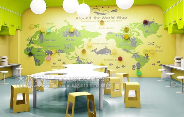 儿童卧室彩绘 教室手绘墙 儿童乐园彩绘 世界地图 鲸 长颈鹿 大象