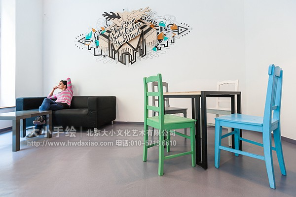 餐厅手绘墙 咖啡厅墙绘 酒吧墙绘 勾线 线描手绘 走廊壁画 店铺彩绘