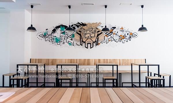 创意图案装饰清新餐厅 墙体彩绘