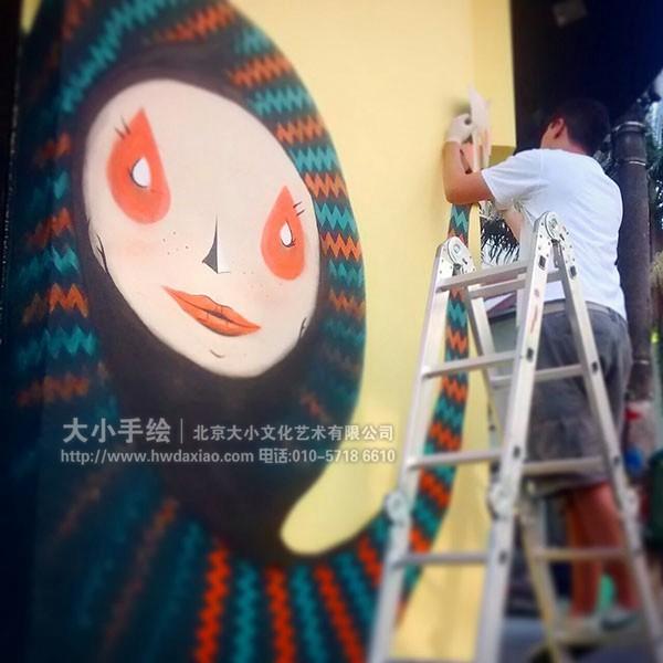 街道创意墙绘 外墙壁画 卡通人物 卡通孔雀 文化墙彩绘 餐厅手绘墙
