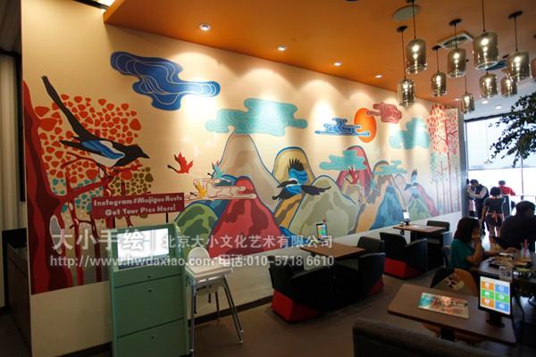 餐厅手绘墙 咖啡厅墙绘 酒吧墙绘 风景彩绘 喜鹊 云朵 中式彩绘 山峰