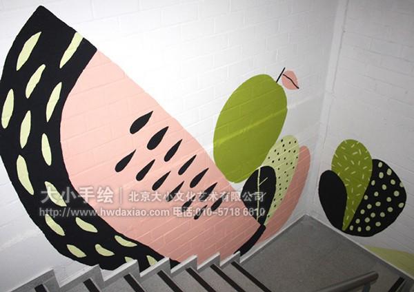 办公室手绘墙 创意墙绘 会议室彩绘 楼梯间彩绘 卡通 人物 仙人掌