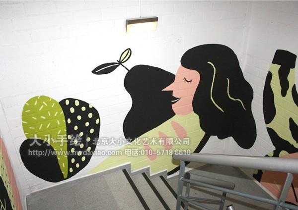 妙趣横生卡通人物楼梯间走廊手绘墙壁画 墙体彩绘