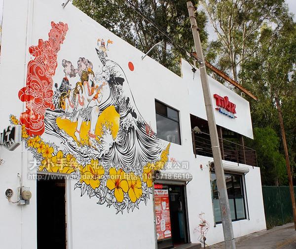 街道创意墙绘 外墙壁画 卡通人物 冲浪 钓鱼 浪花 热带 花朵 图腾