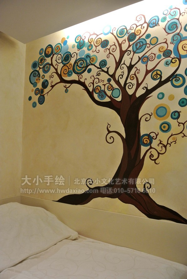 愿望之树卧室手绘墙壁画 墙体彩绘